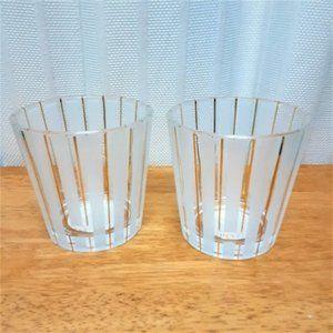 Two Large Gold Stripe Empty NEST Candle Ja…